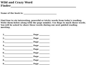 Wild And Crazy Word Finder Worksheet