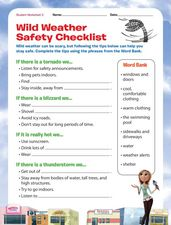 wild weather safety checklist 1st 2nd grade worksheet lesson planet. Black Bedroom Furniture Sets. Home Design Ideas
