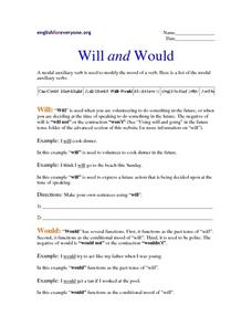 Will and Would Worksheet