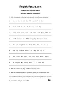 William Shakespeare Word Puzzle Worksheet