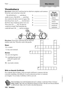 Wilma Unlimited Vocabulary Worksheet
