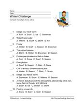 Winter Challenge Worksheet