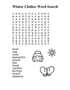 Winter Clothes Word Search Worksheet