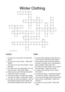 Winter Clothing Crossword Worksheet