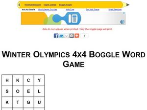 Winter Olympics 4x4 Boggle Word Game Worksheet