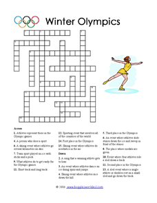 Winter Olympics Crossword Puzzle Worksheet