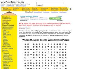 Winter Olympics Word Search Puzzle Worksheet