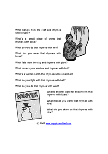 Winter Rhymes Worksheet