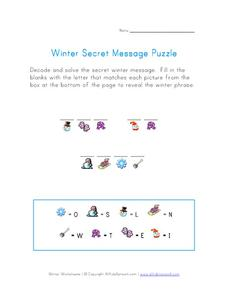 Winter Secret Message Puzzle Worksheet