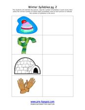Winter Syllables pg. 2 Worksheet