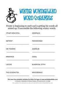 Winter Wonderland Word Scramble Worksheet
