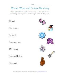 Winter Word and Picture Matching Worksheet