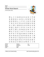 Winter Word Search Worksheet