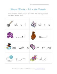 Winter Words-Fill in the Vowels Worksheet