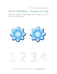 Winter Worksheet - Practice Counting Worksheet