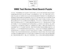 WMS Test Review Word Search Puzzle Worksheet