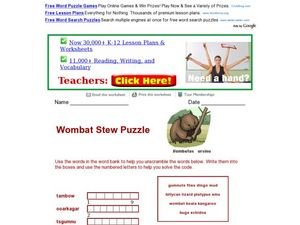 Wombat Stew Puzzle Worksheet