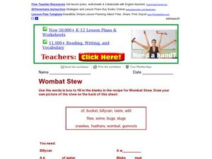 Wombat Stew Worksheet