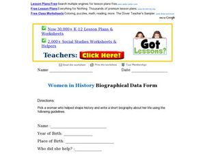 Women in History Biographical Data Form Worksheet