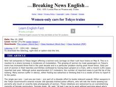 Women-only Cars for Tokyo Trains Worksheet