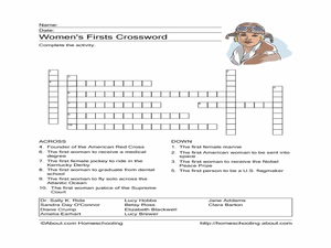 Women's Firsts Crossword Worksheet