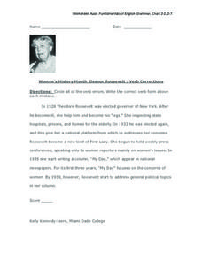 Women's History Month-  Eleanor Roosevelt: Verb Corrections Worksheet