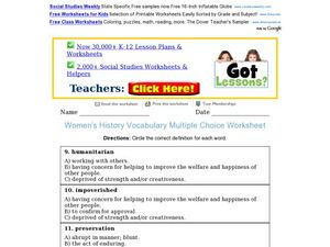 Women's History Vocabulary Multiple Choice Worksheet Worksheet