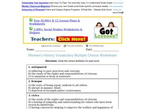 Women's History Vocabulary Multiple Choice Worksheet