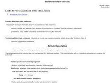 Wonderful World of Dinosaurs Lesson Plan