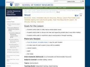 Wood Lesson Plan