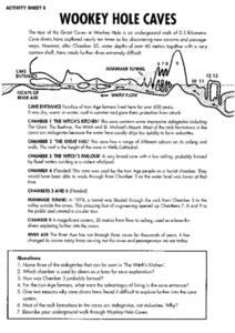 Wookey Hole Caves- Reading and Field Trip Response Worksheet