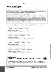 Word Analogies 6th - 8th Grade Worksheet | Lesson Planet