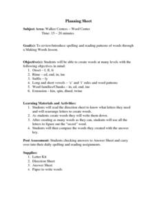 Word Center Lesson Plan