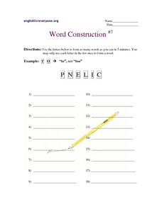 Word Construction #7 Worksheet