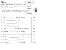"Word Endings: ""ed"" and ""ing"" Worksheet"