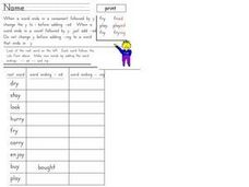 Word Endings Worksheet
