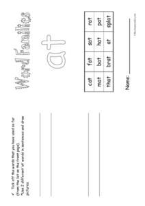 Word Families -at Mini Book Worksheet
