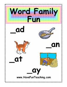 Word Family Fun Worksheet