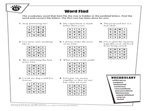 Word Find Lesson 15 Worksheet