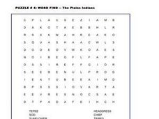 Word Find - The Plains Indians Worksheet