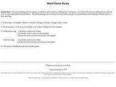 Word Game Rules Worksheet