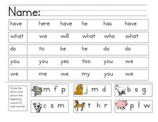 Word Matching and Beginning Sounds Worksheet