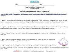 Word Meanings From Context--Synonyms Worksheet