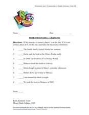 Word Order Practice – Chapter Six Worksheet