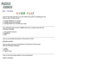 Word Play Worksheet