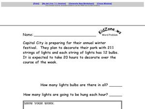 Word Problem Activity Worksheet