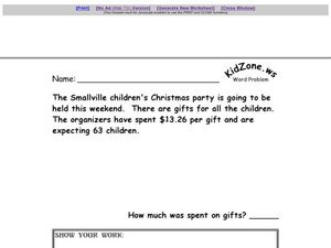 Word Problem - Amount Spent on Gifts Worksheet