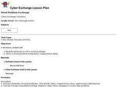 Word Problem Exchange Lesson Plan