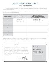 Word Problem Solutions Worksheet