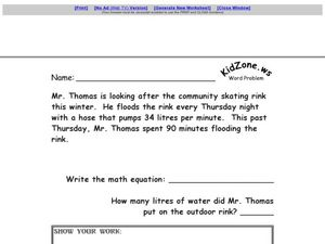 Word Problem: Two Digit Multiplication Worksheet